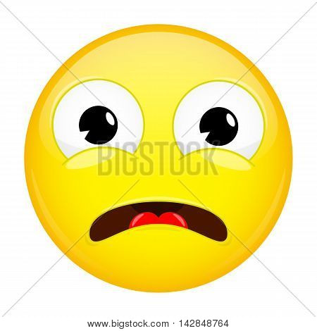 What emoji. Shock emotion. Surprise emoticon. Illustration smile icon.
