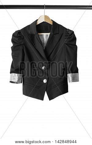 Black elegant jacket on wooden clothes rack isolated over white