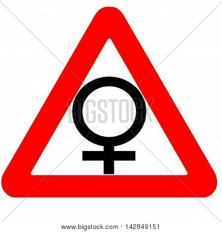 Funny warning road sign female gender symbol icon isolated on white
