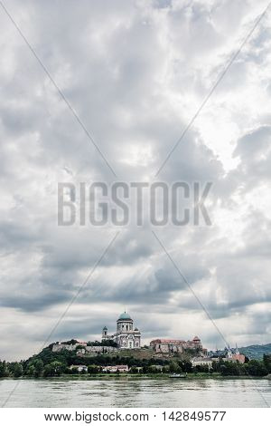 Beautiful basilica in Esztergom Hungary. Cultural heritage. Travel destination. Vertical composition. Place of worship. Religious architecture.