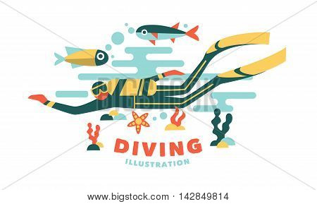Vector illustration underwater diver surrounded fish on white background
