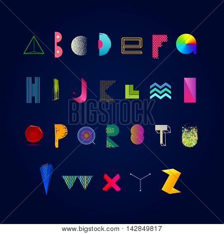 Vector vibrant multicolored alphabet. Modern typeface made from different abstract shape, textures and gradient. Font set.