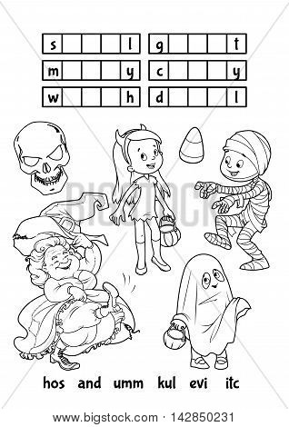 Educational game for kids. Halloween puzzle. Let's find the correct part of words. Cartoon vector illustration.