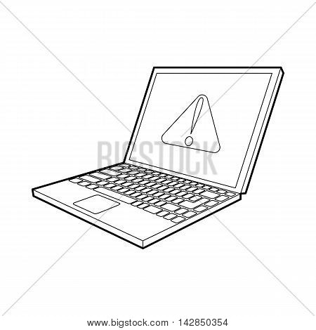 laptop with a warning signal icon in outline style on a white background