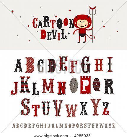 Cartoon devil - retro style ornate typeface. Vector alphabet. Font set.