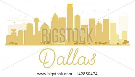 Dallas City skyline golden silhouette. Simple flat concept for tourism presentation, banner, placard or web site. Business travel concept. Cityscape with landmarks