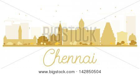 Chennai City skyline golden silhouette. Simple flat concept for tourism presentation, banner, placard or web site. Business travel concept. Isolated Chennai