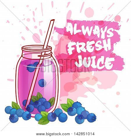 Cocktail jar with blueberry juice. Vector illustration on a white background with spots.