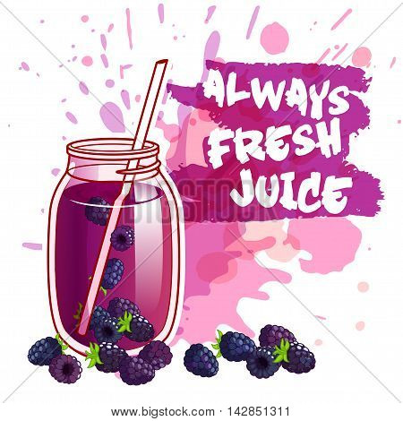 Cocktail jar with blackberry juice. Vector illustration on a white background with spots.