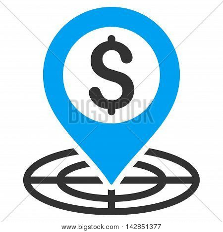 Financial Crosshair icon. Vector style is bicolor flat iconic symbol with rounded angles, blue and gray colors, white background.