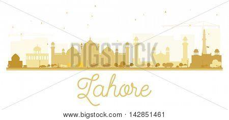 Lahore City skyline golden silhouette.