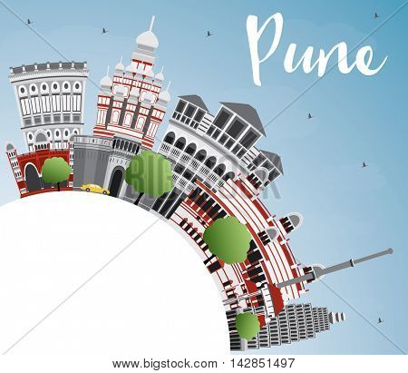 Pune Skyline with Color Buildings, Blue Sky and Copy Space. Business Travel and Tourism Concept with Historic Buildings.