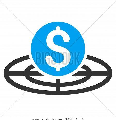 Money Crosshair icon. Vector style is bicolor flat iconic symbol with rounded angles, blue and gray colors, white background.
