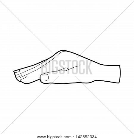 Protecting hand icon in outline style on a white background