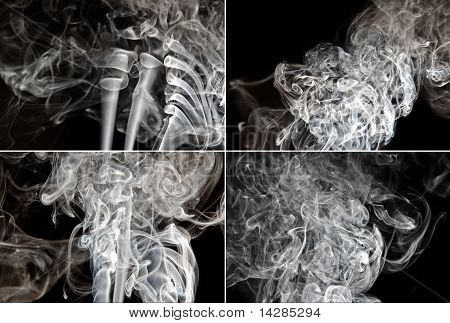 Set Of Smoke On Black Background