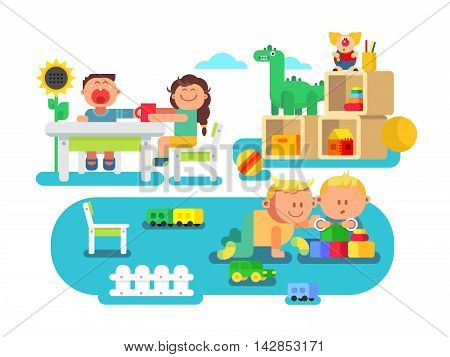 Kindergarten flat design. Child cartoon, preschool boy and girl, vector illustration