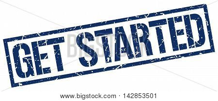 get started stamp. blue grunge square isolated sign