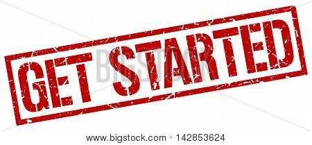 get started stamp. red grunge square isolated sign
