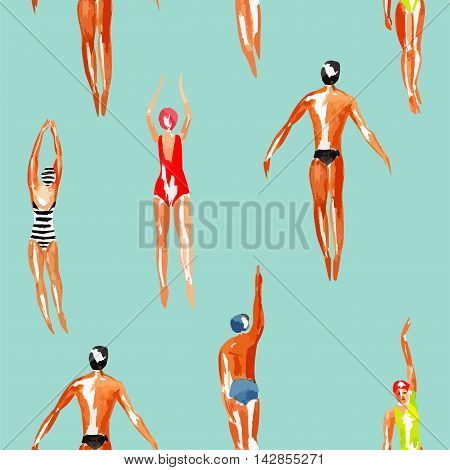 Watercolor swimmer men and women engaged in sports swimming in the marine tropical harbor. Art top summer seamless pattern vector. Print people among the waves