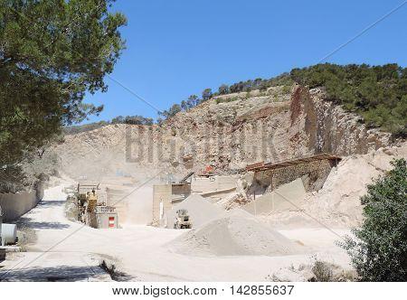Quarry, stone quarry and clear blue sky