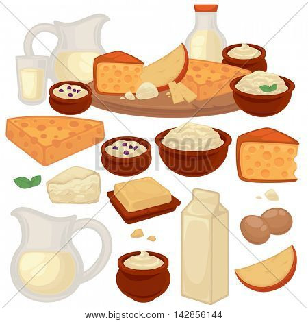 Set of healthy dairy products: milk, cottage cheese, butter, yogurt, sour cream, eggs. Jug, bottle, glass and packaging of milk. Vector illustration