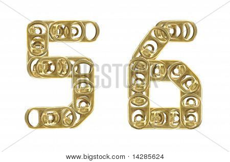 ring pull of cans numbers 5 6 isolated on white background