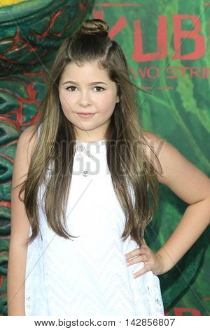 LOS ANGELES - AUG 14: Addison Riecke at the premiere of Focus Features' 'Kubo and the Two Strings' at AMC Universal City Walk on August 14, 2016 in Los Angeles, California