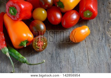 fresh ripe colorful vegetables tomatoes