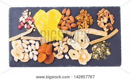 Nuts on slate isolated d d d