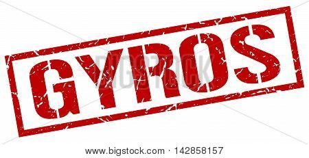 gyros stamp. red grunge square isolated sign