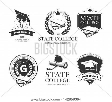 University, academy, college and school emblems, labels, badges. Insignia state education Vector illustration