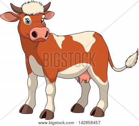 Vector illustration adult funny cow smiling on a white background