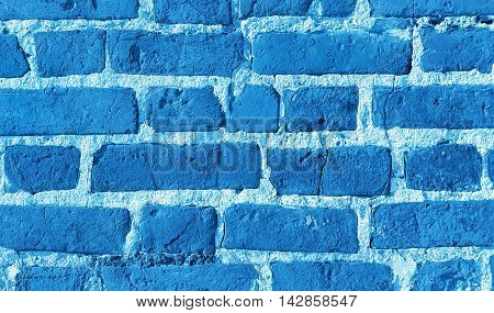 Texture of brick wall blue abstract background