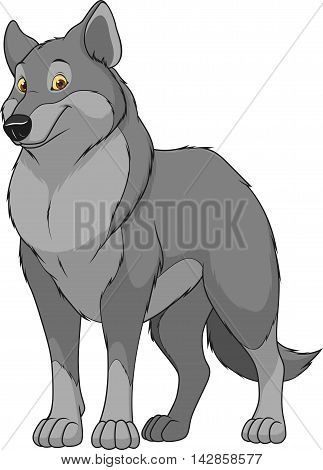 Vector illustration adult funny wolf smiling on a white background