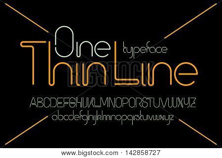 Simple minimalistic modern font made of one thin line