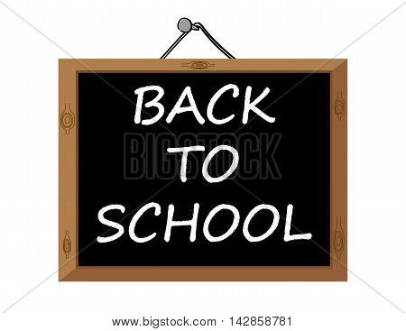 The words Back To School in white text on a blackboard hanging from a nail