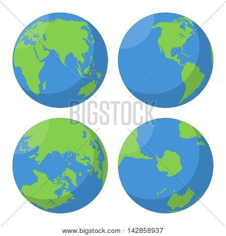Flat Earth globe vector icons set. Planet map world illustration
