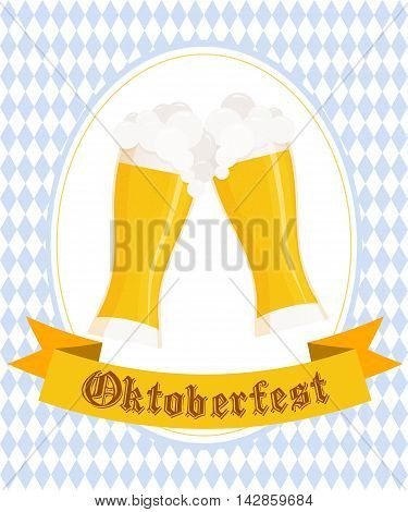 Vector illustration of hand drawn oktoberfest poster with two flat beer mugs on rhombic oktoberfest background.