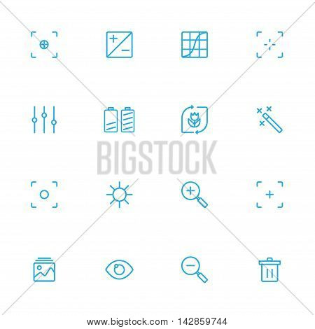 Photography controlsetting and equipment blue line icons set