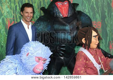 LOS ANGELES - AUG 14: Matthew McConaughey, Characters at the premiere of Focus Features' 'Kubo and the Two Strings' at AMC Universal City Walk on August 14, 2016 in Los Angeles, California