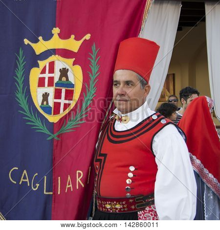 QUARTU S.E., ITALY - September 15, 2012: Parade of the Wine Festival 2012 - Sardinia - portrait of a man in traditional Sardinian costumes of the folk group of Cagliari - Villanova.
