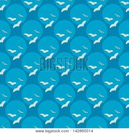 Seamless sea background. Hand drawn blue and white pattern. Suitable for fabric, greeting card, advertisement, wrapping. Bright and colorful seamless pattern with flocks of seagulls