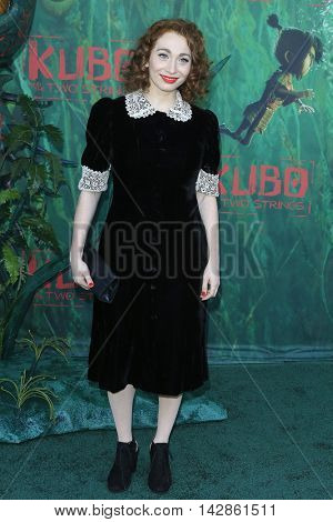 LOS ANGELES - AUG 14: Regina Spektor at the premiere of Focus Features' 'Kubo and the Two Strings' at AMC Universal City Walk on August 14, 2016 in Los Angeles, California
