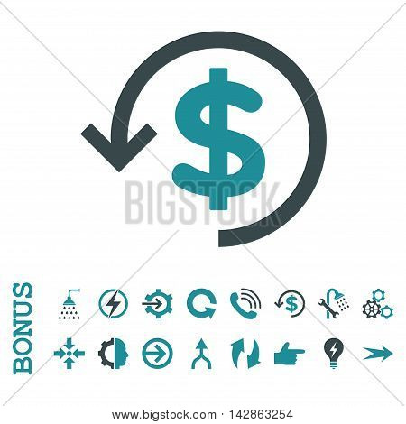 Refund vector bicolor icon. Image style is a flat iconic symbol, soft blue colors, white background.