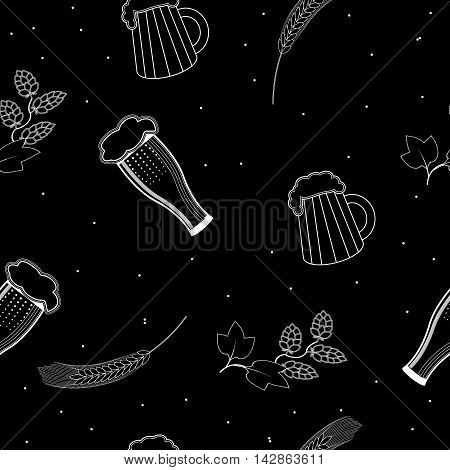 seamless pattern glasses and a mugs of beer, hops and barley on a black background. For packaging beer, bread and flour products in your cafe, bar, pub, tavern, brewery, restaurant.