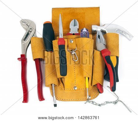 worker's leather tool belt on white background