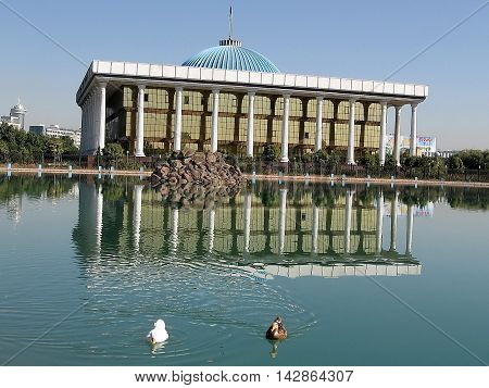 Majlis building and pond in Tashkent the capital of Uzbekistan