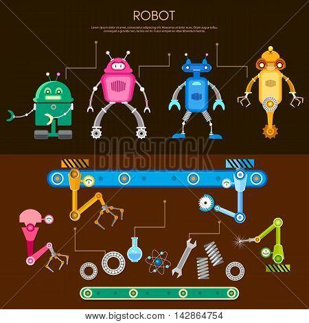 Set of cute robots conveyor belt assembling robots on factory vector