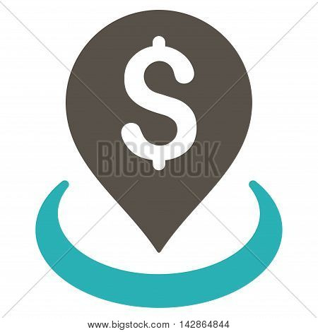 Bank Placement icon. Vector style is bicolor flat iconic symbol with rounded angles, grey and cyan colors, white background.