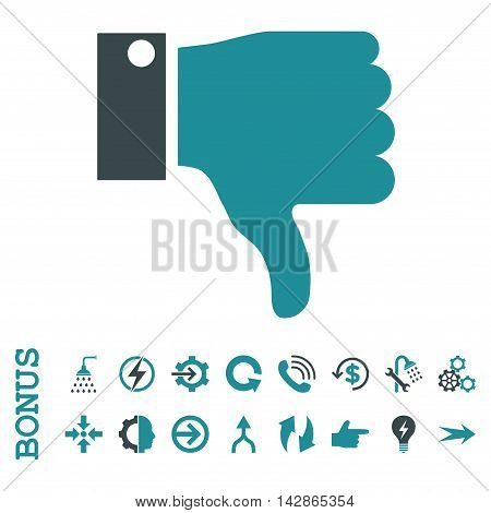 Thumb Down vector bicolor icon. Image style is a flat pictogram symbol, soft blue colors, white background.